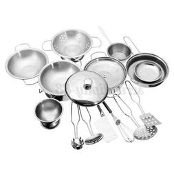 16pcs Mini Stainless Steel Kitchen Cooking Play Toys Cookwar