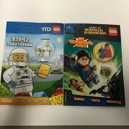 2 Lego Activity Books with Mini Figures, Superman and Space,