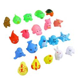 20Pcs Baby Bath Mini Animals Squeeze Squeakers and Squirters