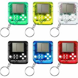 6 Pieces Brick Game Console Keychain Mini Brick Game Toy Key