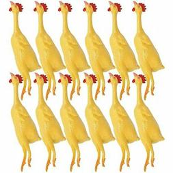 8'' Mini Rubber Stretch Chickens – Pack of 12 Yellow S