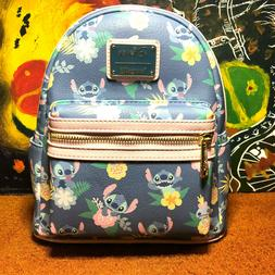 LOUNGEFLY DISNEY STITCH & SCRUMP FLORAL PASTEL MINI BACKPACK