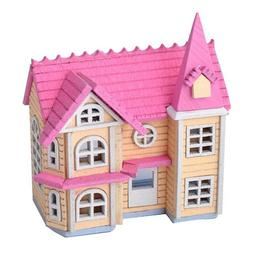 DIY Dollhouse Mini Pink House Cottage Wooden Toy Doll's Acce