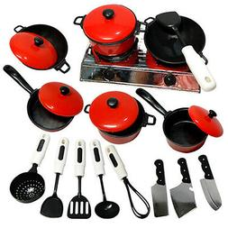 Kids Pretend Kitchen Toy Set Role Play Mini Chef Cookware Co