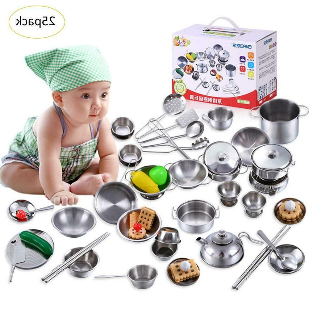 18-40pcs Stainless Steel Kitchen Cooking Kids House Toys