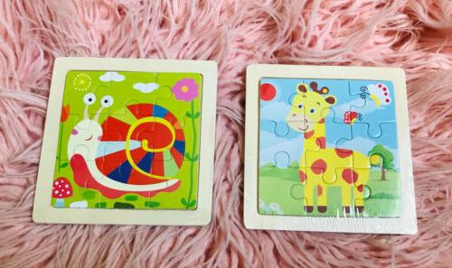 2 mini wood puzzle kids toddler learning