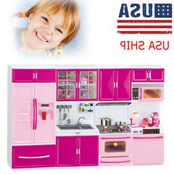 Mini Kitchen Pretend Play Cooking Set Cabinet Stove Toy for