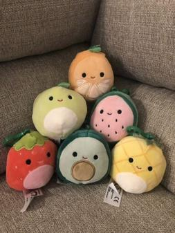 """Kellytoy Squishmallow Assorted Fruits 3.5"""" Mini Clip Ons"""