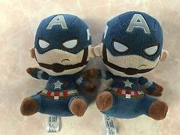 TWO MATCHING MARVEL CAPTAIN AMERICA MINI STUFFED TOYS