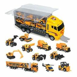 zoordo Construction Truck Toys Sets,11 in 1 Mini Die-Cast Tr